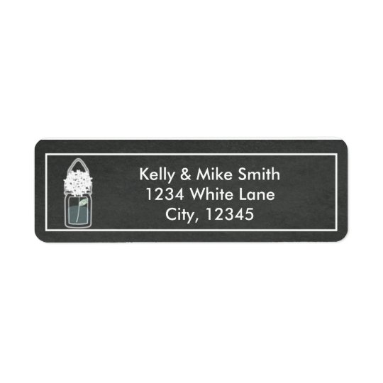 White flowers chalkboard mason jar address label