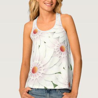 White flowers design singlet