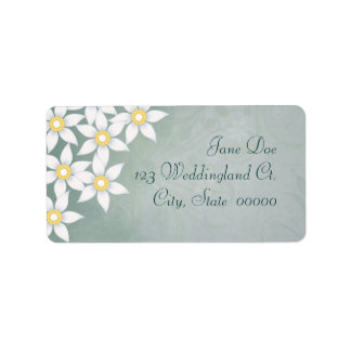 White Flowers Floral Address Labels