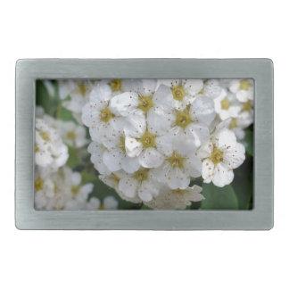 White flowers glowing rectangular belt buckles