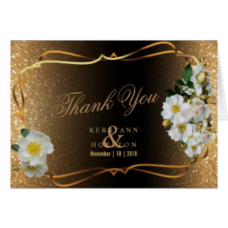 White Flowers & Gold Glitter on Brown - Thank You Card
