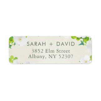 White Flowers Green Leaves Return Address Label