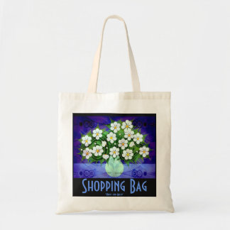 White Flowers, Green Vase Tote