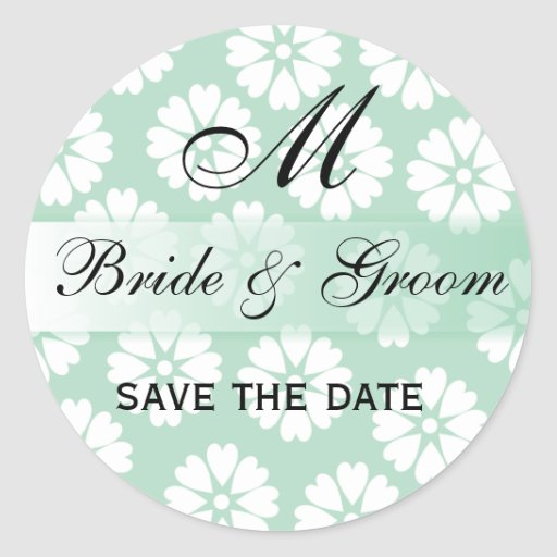 White Flowers Green Wedding Monogram Seal Round Round Stickers