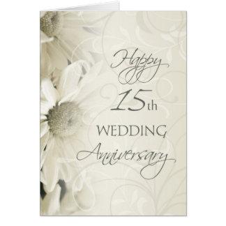 White Flowers Happy 15th Wedding  Anniversary Card