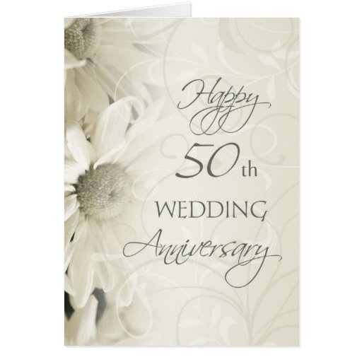 Flower For 50th Wedding Anniversary: White Flowers Happy 50th Wedding Anniversary Card