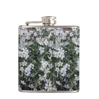 White flowers hip flask