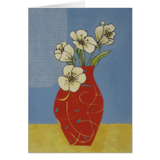 White flowers in red vase blank card