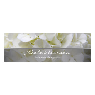 white flowers - interior designer pack of skinny business cards
