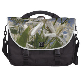 White Flowers Laptop Commuter Bag