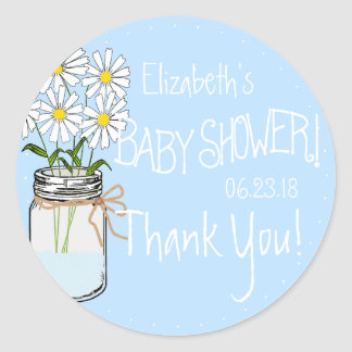 White Flowers Mason Jar Blue Baby Shower Thank You Round Sticker