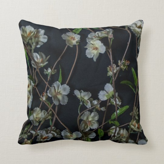 White Flowers on a black background Cushion