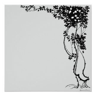 White Flowers on a Vine Vintage Art Invitation! Card