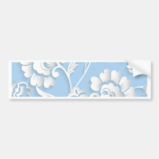 White Flowers On Baby Blue Bumper Sticker