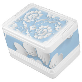 White Flowers On Baby Blue Cooler