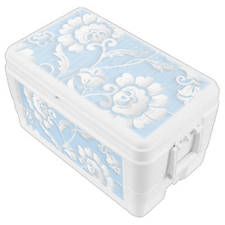 White Flowers On Baby Blue Ice Chest