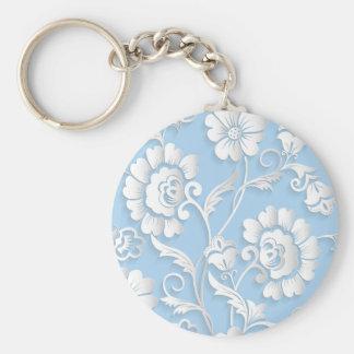 White Flowers On Baby Blue Key Ring