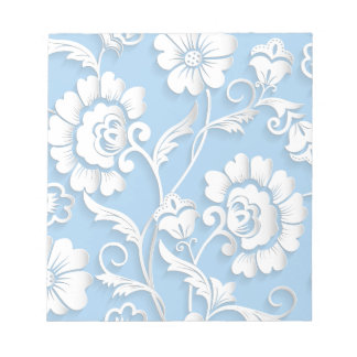 White Flowers On Baby Blue Notepad