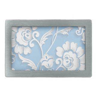 White Flowers On Baby Blue Rectangular Belt Buckle