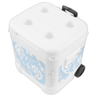 White Flowers On Baby Blue Rolling Cooler