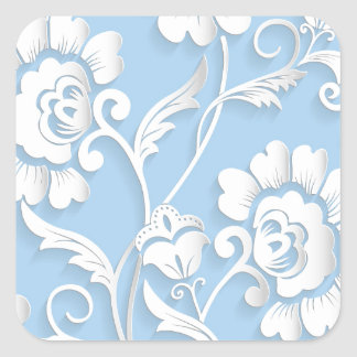White Flowers On Baby Blue Square Sticker