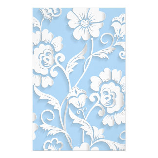White Flowers On Baby Blue Stationery