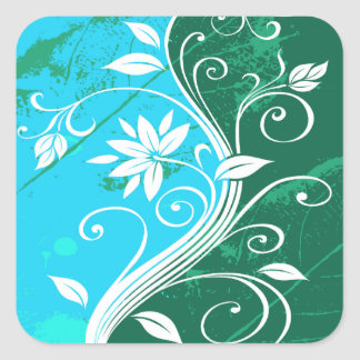 White Flowers on Blue and Green Grunge Sticker
