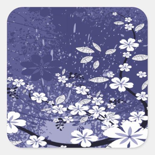 White Flowers on Blue Grunge Sticker