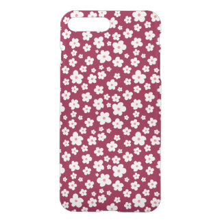 White flowers on custom color iPhone 7 plus case