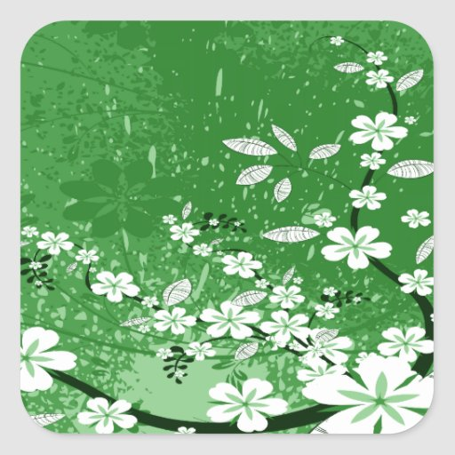 White Flowers on Green Grunge Square Stickers