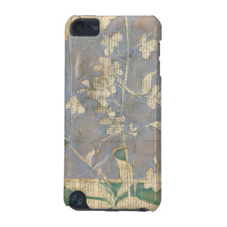 White Flowers on Newsprint Background iPod Touch (5th Generation) Covers
