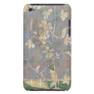 White Flowers on Newsprint Background iPod Touch Case