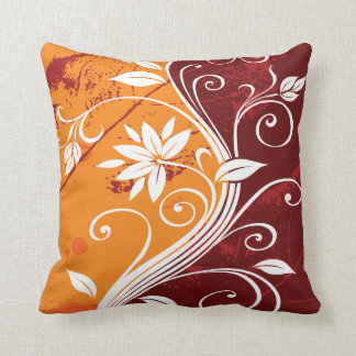 White Flowers on Orange and Burgundy Grunge Cushion