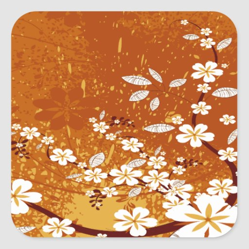 White Flowers on Orange Grunge Square Stickers