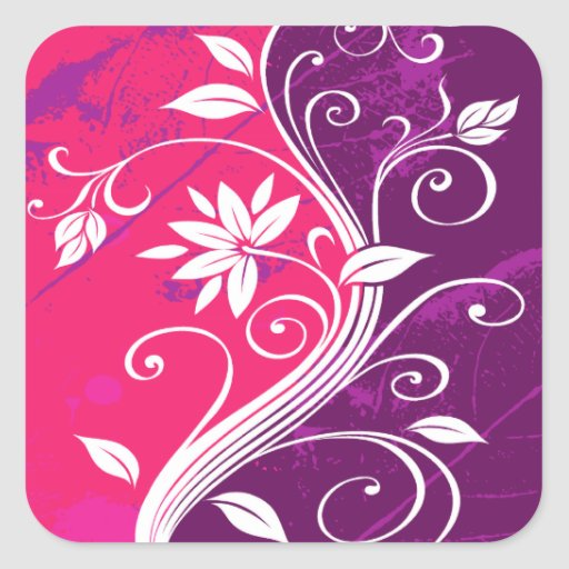 White Flowers on Purple and Pink Grunge Stickers