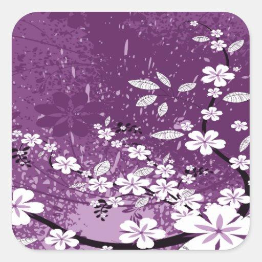 White Flowers on Purple Grunge Sticker