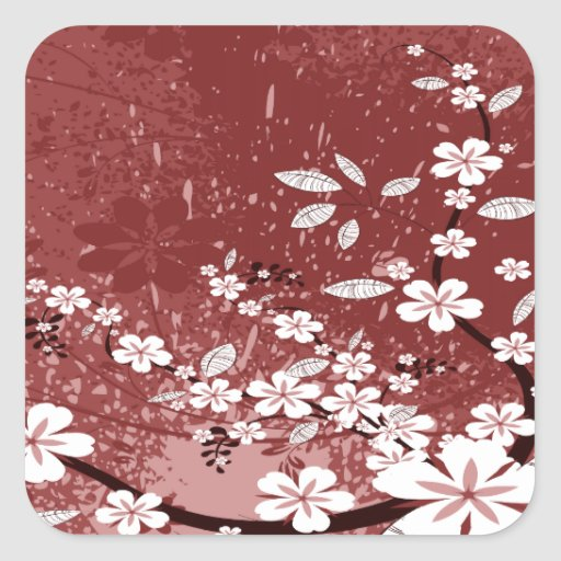White Flowers on Red Grunge Stickers