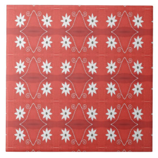 white flowers on red pattern large square tile