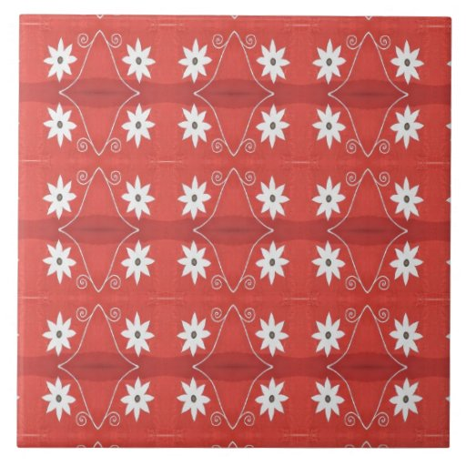 white flowers on red pattern tiles