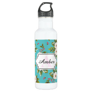 White flowers painting on turquoise background 710 ml water bottle
