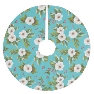 White flowers painting on turquoise background brushed polyester tree skirt
