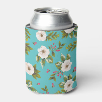 White flowers painting on turquoise background can cooler