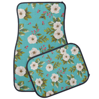 White flowers painting on turquoise background car mat