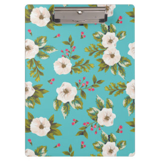 White flowers painting on turquoise background clipboards