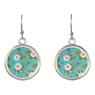 White flowers painting on turquoise background earrings