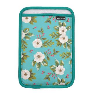 White flowers painting on turquoise background iPad mini sleeve