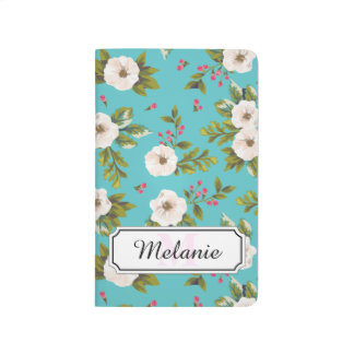 White flowers painting on turquoise background journals