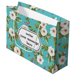 White flowers painting on turquoise background large gift bag