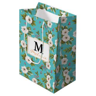 White flowers painting on turquoise background medium gift bag