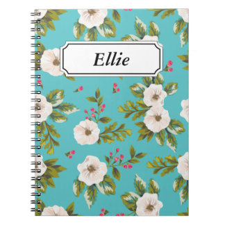 White flowers painting on turquoise background note books